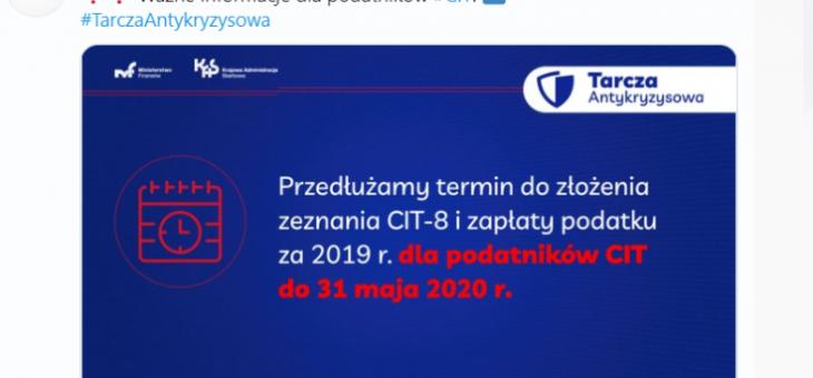 Wydłużenie terminu na złożenie CIT-8 za 2019 rok.!